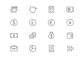 Finance thin line vector icons. Editable stroke