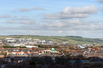 Aerial view of Blackburn city which is the north west of England.