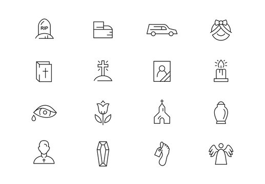 Funeral thin line vector icons. Editable stroke