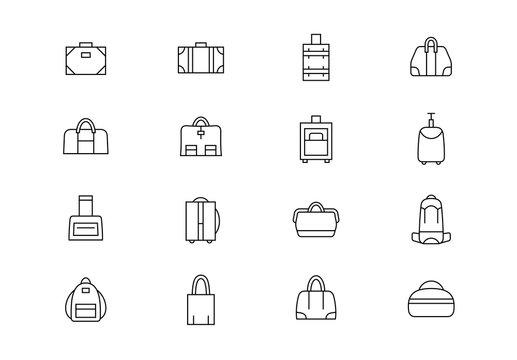 Bags thin line vector icons. Editable stroke