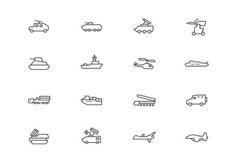 Military vehicles thin line vector icons