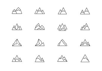Mountains thin line vector icons. Editable stroke