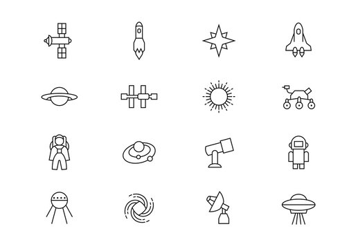 Space thin line vector icons. Editable stroke