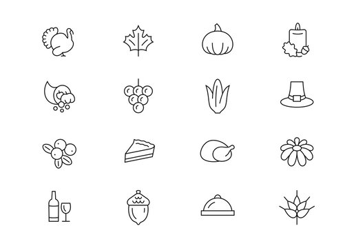Thanksgiving Day thin line vector icons. Editable stroke