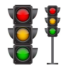 Traffic lights with all three colors on.
