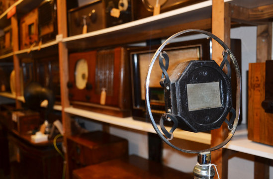 Old vintage microphone in a museum