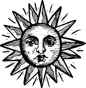 hand-drawn vintage sun