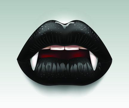Black female lips with fangs, vampire, woman vamp, teeth. Festive poster, abstract background. 3D effect. Vector illustration. EPS10