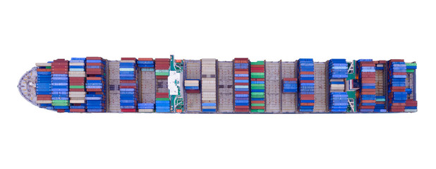 Fototapeta Aerial top view of container cargo ship in the export, import business, logistics and transportation concept with international goods isolated on white background. Clipping path inside.