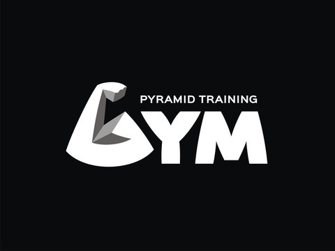 Gym logo. Vector letter G. Sign of bodybuilding. Training for muscles by the method of the pyramid.