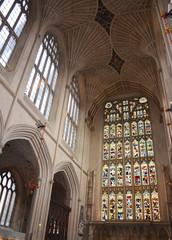 Interior of Bath Abbey in Bath, Somerset, United Kingdom