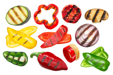 Canvas Prints Hot chili peppers Grilled vegetables, sliced and whole, isolated, a set of