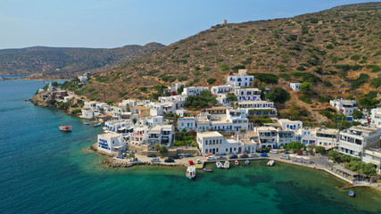Aerial drone photo of iconic port and picturesque village of Katapola in island of Amorgos, Cyclades, Greece