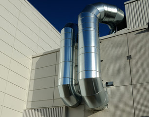 ventilation pipes of industrial building outdoor