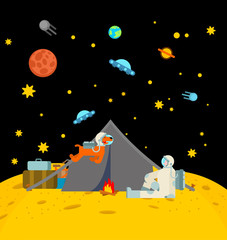Spoed Foto op Canvas Indiërs Space tourism. Cosmic camping on moon. Astronaut and tent. spaceman on vacation