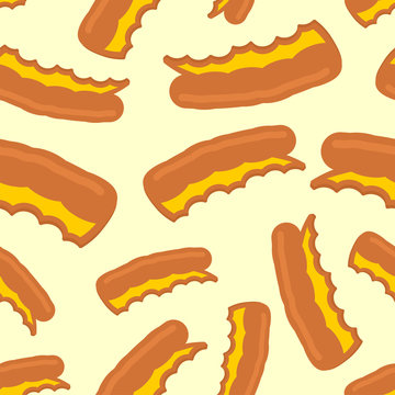 Pizza crust pattern seamless. leftover pizza  background. Fast food vector texture