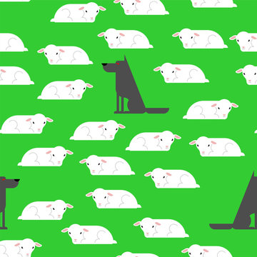 Wolf and sheep pattern seamless. vector background