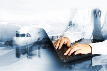 Businessman working control logistics by air or import export industry