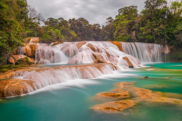 The magnificent cascades and waterfalls of Agua Azul in the tropical rainforest of the Chiapas state near Palenque, Mexico. Wall mural
