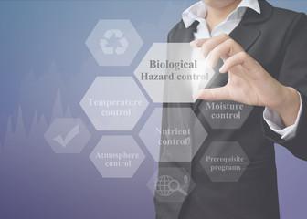 Businesswoman showing presentation element of Biological Hazard control concept