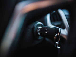 Selective focus car key running car