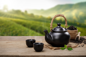 Photo sur Aluminium The Cup of hot tea with teapot, green tea leaves and dried herbs on the wooden table in plantations background with empty space, Organic product from the nature for healthy with traditional