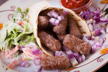 Bosnian cevapcici, minced meat kebab