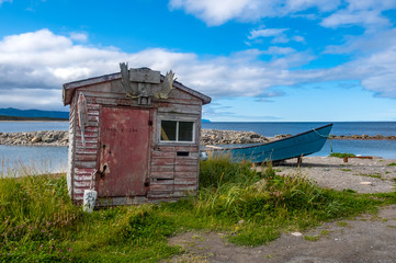 Abandoned Fishing Shack and Boat in Green Point, Gros Morne National Park, Newfoundland