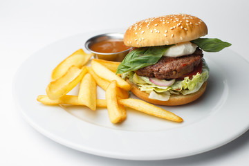 burger on a white plate