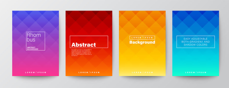 Set of rhombus pattern on colorful gradient background. Abstract design template for Brochure, Flyer, Poster, leaflet, Annual report, Book cover, A4 size