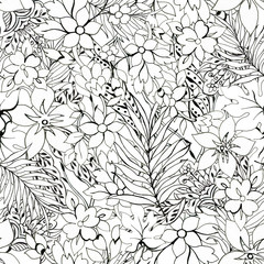 Black and White outline seamless pattern Floral background Flowers wallpaper  plants on white background Drawn decorative flowers pattern. Design for home decor, fabric, carpet, wrapping, card