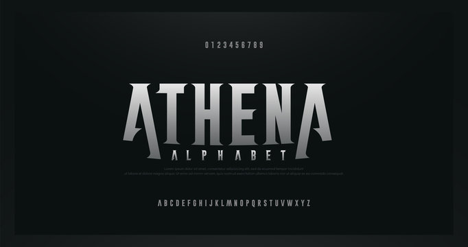 Rock serif modern alphabet fonts. Typography for rock, music, game, future, creative, abstract design font and number. vector illustraion