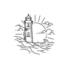 Lighthouse Monoline Landscape Badge