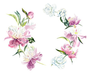 Frame from peony. Wedding drawings. Greeting cards. Flower backdrop. Watercolor hand drawn illustration