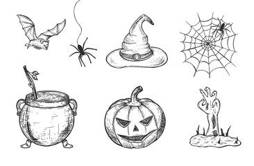 Halloween set. witch hat. Cauldron with potion. bat, spiders, zombie hand. Scary pumpkin. Vector graphics. hand drawing.eps