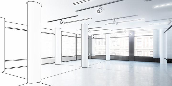 Büro- & Gewerbefläche, leer (Entwurf) - 3d Illustration