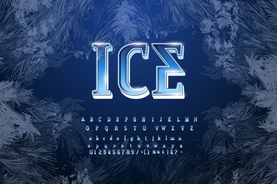 Crystal ice type font alphabet. Frozen letters, numbers and punctuation marks. Stock vector for your headlines, posters etc.