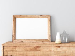 Horizontal Wooden Frame poster Mockup standing on bureau