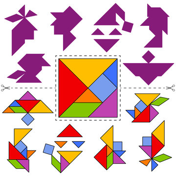 Set of vector tangram puzzles (geometric puzzle) for the development of logical thinking of children and adults. Collection of 6 faces of people. Answer card. Vector illustration