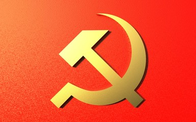 Golden hammer and sickle on a red background. Soviet historical symbols of the socialism time, 3d render.