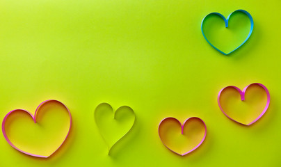 hearts ribbon on paper background,Concept Health day background and Valentines Day background