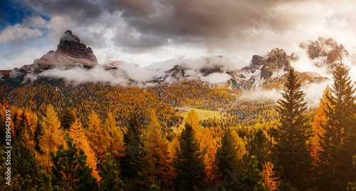 Wall mural Stunning image of the alpine valley. Location place National Park Tre Cime di Lavaredo, South Tyrol.