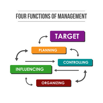 Four functions of Management. Infographic colorful illustration of target achievement