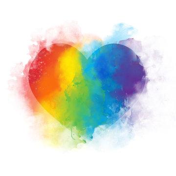 Watercolor art rainbow heart - isolated
