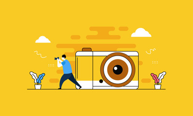 Camera and Photography flat vector illustration concept,can be used for landing page, ui, web, app intro card, editorial, flyer, and banner.