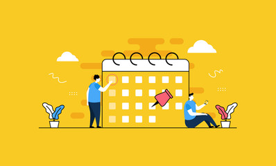 Schedule Management flat vector illustration concept,can be used for landing page, ui, web, app intro card, editorial, flyer, and banner.