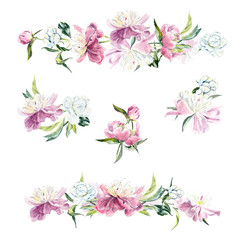 Watercolor floral elements for wedding invitations and cards. Hand drawn illustration.