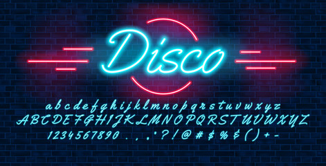 Neon light blue font hand drawin, english alphabet uppercase and lowercase letters and numbers, on brick background, vector illustration
