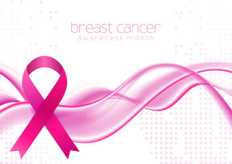 Breast cancer awareness month. Smooth elegant waves and pink ribbon tape design. Vector women healthcare abstract background