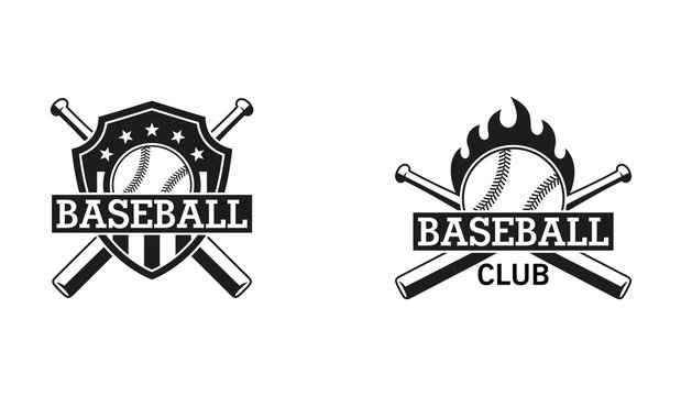 Black and white illustration of a baseball club emblem. Shield, bat, ball, text with stars and flame. Vector illustration on a sports theme.